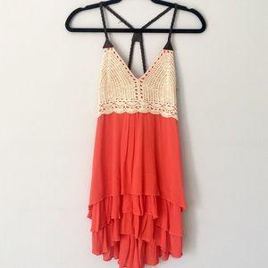 NWOT Boutique Crochet Boho Flowy Dress
